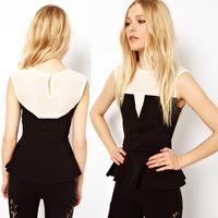 New Arrival Summer Women Lady  Sleeveless White Black Patchwork Victorian Chiffon Shirts And Peplum Top