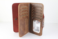 Men Vintage Stylish Wallet Clutch HandBag Credit ID Card Slots Genuine Leather Long Purses Bifold Hasp Checkbook Gift Idea BB123