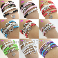 Ювелирное украшение с крестом Fashion Jewelry cross Infinite Multicolor Charm Leather Bracelet mix color