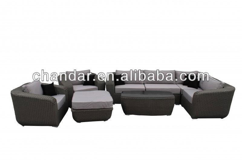 round wicker sofa set outdoor sofa poly rattan furniture