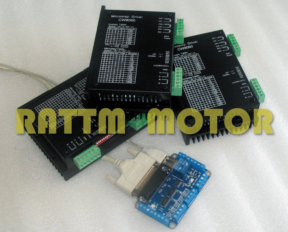 Купить 3 Оси Высокое Качество ЧПУ Шагового Контроллер комплект 80VDC/6A/256 Microstep для ЧПУ Маршрутизатора Mill CW8060 драйвер