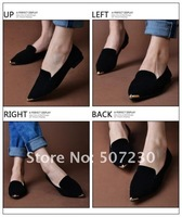 Hot-selling 2012 women's shoes single shoes metal pointed toe flat sweet candy color flat heel dipper shoes