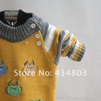 Свитер для девочек 3pcs/ 4colors Cute Baby Girl O-Neck Pullover Frog Sweater/ Children Autumn/Winter Knitted Top Kids Sweatshirts