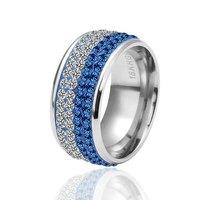 ручной работы мода ювелирные изделия Рождественский подарок титана стали 18 k белого золота гальваническим стразами кристалл обручальные кольца мужчины женщины jz043