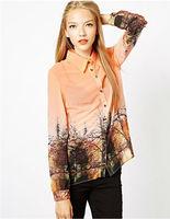 Vintage Style Landscape Print  Blouse Shirt Free Shipping