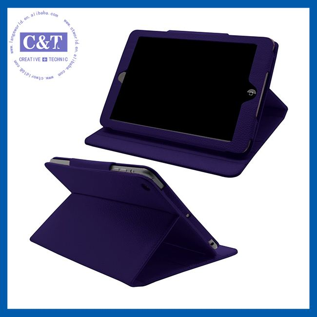 C&T New 2014 Rotating stand leather case for ipad mini 2