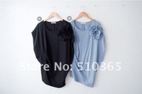 Женская футболка HOT SALE 2012 Summer Cute New flower short sleeves T-shirts women 384N