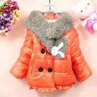 Korean fashion fur collar lengthening scarf pleated lace hem double breasted girls clothes winter jacket girl