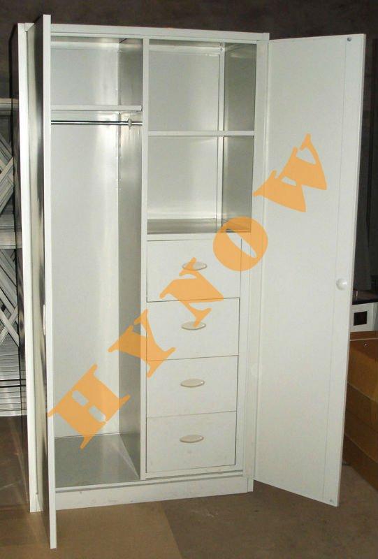 2013 New Design Double Doors Bedroom Indian Metal Wardrobe Locker Cupboard With Locker Inside
