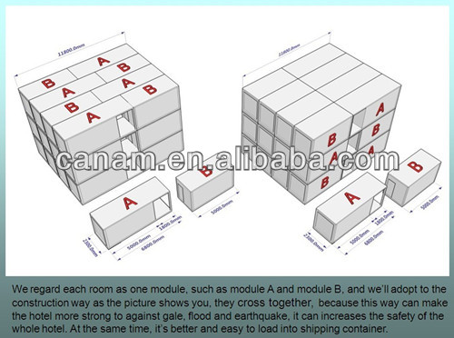 Container house with CE,CSA&AS certificate for hotel , studentent 's dormitory , classroom , office