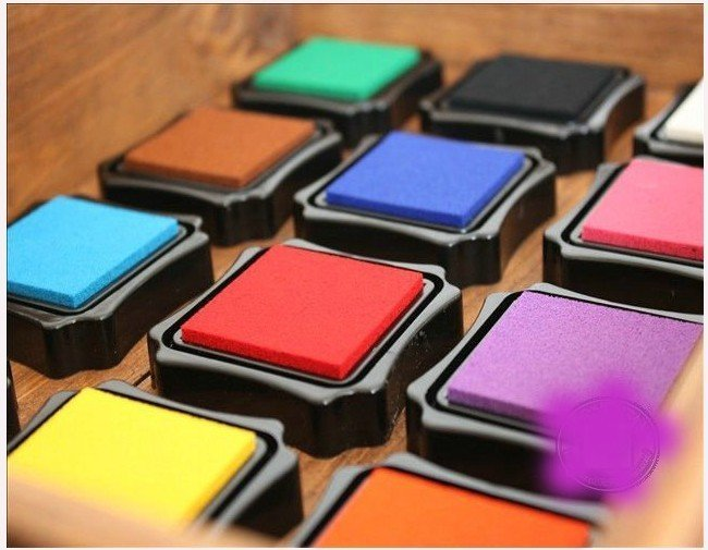 Freeshipping!New Creative 14-Color in box ,Cute Colorful Cartoon Ink pad/Ink stamp pad/Inkpad for DIY funny work-many colors