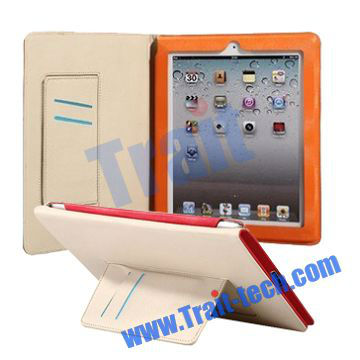 Smart Wake Up and Sleep Card holder leather flip case for iPad 3 ipad 4