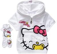 Продажа! Привет Китти младенца девочек короткими рукавами спортивные костюмы цвет белый/розовый хлопка девушки летняя одежда устанавливает 1 набор розничных