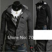 Free shipping 2013 new hot sale mens fashion casual  outwear  Special Hoodie Coat jacket  black gray dark gray M-XXXL Y3561