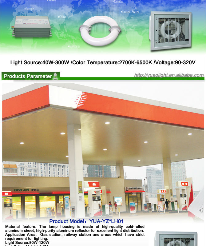 china supplier gas station LED canopy lights for 5 years warranty with UL cUL driver