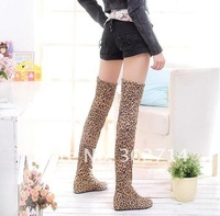Free Shipping size 34-43 Women's boots.leopard sexy knee boot.increasing ladies shoes drop shipping lb1190