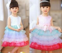 Платье для девочек 5pcs/lot New design Girl Layers yarn Temperament Princess high-grade rainbow pompon tutu dresses with pearl belt