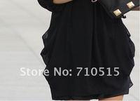 Дамы Корейский сексуальный сарафан изящные gentlewomanly шифоновое платье браслет рукав 3 цвета sizem, л