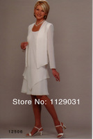 Платье для матери невесты New Style Summer Clothing Set white Mother of the Bride Long Jacket Chiffon Mother Dresses Knee Length Cusotm made