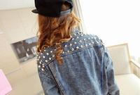 Женская куртка 2013 winter autumn new items fashion vintage rivet jeans jacket women denim shirt A8830