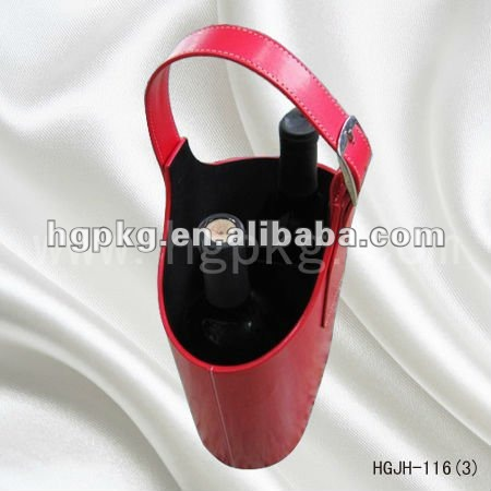 Red handle PU leather wine carrier