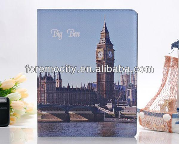 fashion Retro landscape design pu leather flip case for ipad 3