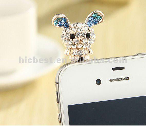 Hello Kitty Diamond 3.5mm dust plug ear cap for phone 5