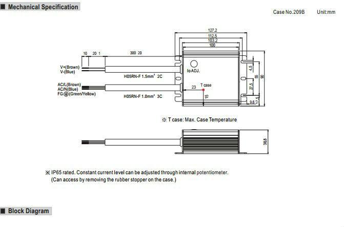 Mean well 70 W 12 v driver de LED / 70 W sortie unique de commutation d'alimentation / LED pilote 12 v