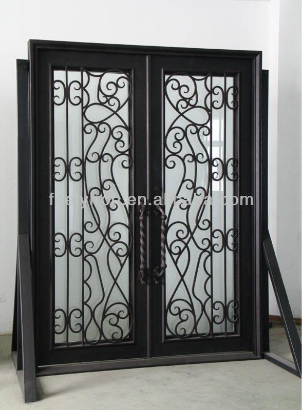 Sourcil haut forg fer double portes d 39 entr e fd 165 portails id de produ - Porte coulissante en fer ...