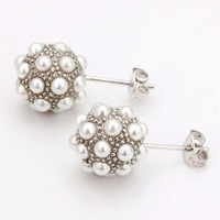 Серьги-гвоздики 18KGP E013, 18K Gold Plated Rhodium Plated Ball Earrings, Vogue Jewelry, Nickel, Plating Platinum, Rhinestone