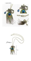 Free shipping wholesale +Fashion spring peacock feather rhinestone women necklace NE-002