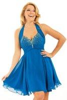Blue chiffon halter beaded natural waist  lady cocktail dresses