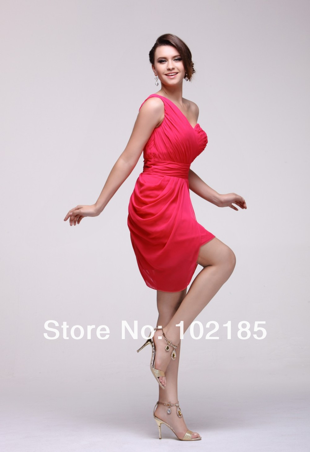 2013 New Arrival Cheap One Shoulder Knee-Length Ruffle Red Chiffon CocktailParty Dresses (1).jpg