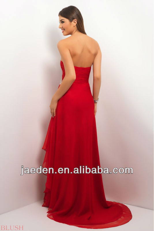 2014 Hot Sell New Arrival A-Line Sweetheart Long Chiffon Red Evening Dresses From DuBai