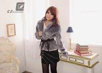 Женская куртка Fox fur coat fur jacket - black / gray / apricot color
