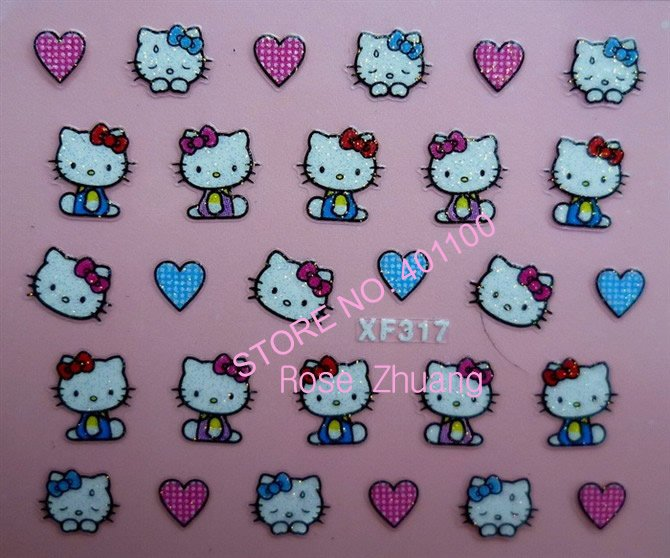 Freeshipping-NEW 3D nail sticker Decal Hello Kitty designs Nail Glitter Stickers Nail Art Decoration Wholesales