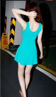 Женское платьеtest! Spring/Summer Women Dress Candy Color Slim Fit Casual Dress Sexy Mini Dress 9 Colors