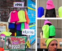 Женская шапка HOT HOT Men and women of fluorescent color line cap hat knitted cap GD hip-hop MaoXianMao set of head cap