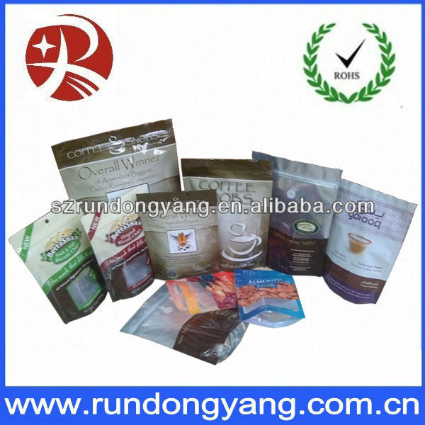 Resealable custom printed plastic aluminum foil coffee bag