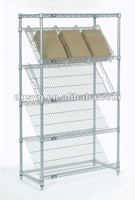 Chrome Slant Wire Shelving For Retail Display Buy ShelvingRolling