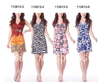 Free shipping-New Arrival !women dresses  fashion designed S~XL Milk Casein Silk Material V-nack ladies' garment