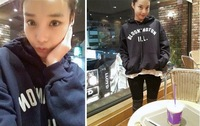 Женские толстовки и Кофты winter new Korean alphabet embroidery backing loose hooded sweater velvet College Wind coat female Korean two colors