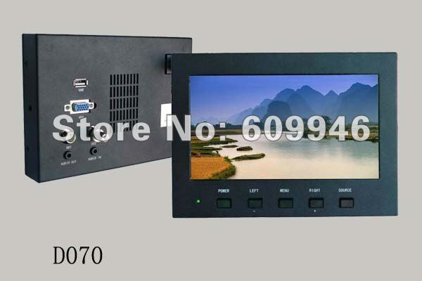 7 inch Metal Case TFT-LCD Monitor for CCTV with touchscreen/Industrial LCD monitor(resolution 800 *480 16:9 500cd/m)