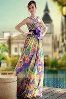 Special Offer DorisQueen tencel print elegant pretty prom dress patterns 30643