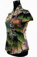 Женские блузки и Рубашки Women's Shirt New Chinese Cotton Shirt Top Lotus Flowers Retail S M L XL XXL XXXL 4XL 5XL 2984-4