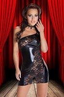 Женский эротический костюм Sexy Oblique shoulder lace transparent leather costume dress