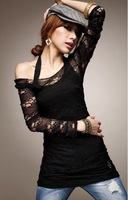 Женская футболка 2012 NEW Sexy Hollow Lace Black Vest Two-Piece Fashion Blouse/Women's Black T-shirt/Factory Price! Drop Shipping! GF029
