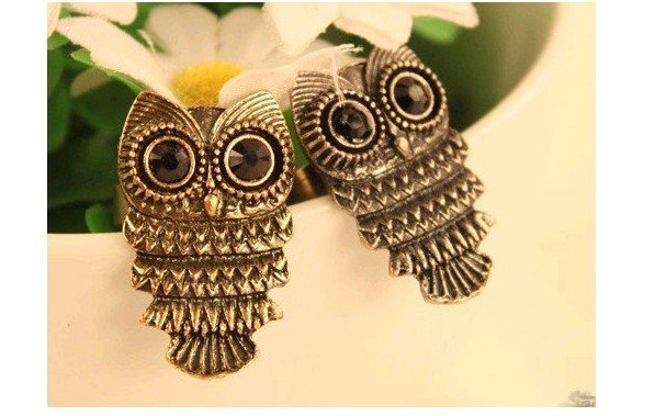 Kc Jewelry,Min.order is $15 (mix order) Fashion silver color vintage owl with black eye alloy ring,finger ring,2 piece,E1032
