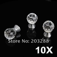 $10 off per $100 order+ 10 Pcs Diam 20mm Round Crystal Glass Cabinet Knobs Drawer Pull Furniture Handle