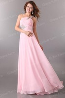 Вечернее платье Charming Fast Delivery 1pc/lot One Shoulder Long Chiffon Bandage Dress, Beadwork Formal Evening Prom Gown Dress CL2949
